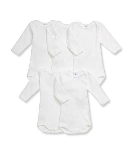 - PETIT BATEAU LONG SLEEVES GIRL`S BODYSUIT/ONESIE 5 PK. SOLID WHITE SIZES 3/36M STYLE 23308 (SIZE 3 STYLE 23308)