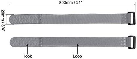 uxcell フックとループのストラップ20mm x 800mmストラップ固定 再利用可能な固定ケーブルタイ(グレー)2個