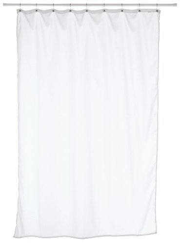 Carnation Home Fashions Fabric Stall Size Shower Curtain Liner, White (Shower Stall Fabric Curtain Liner)