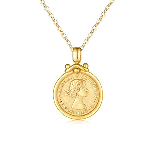 VACRONA Gold Coin Pendant Necklaces,18K Gold Filled Elizabeth Ⅱ British Lucky Sixpence Coin Flower and Leaf Vintage Pendants Necklaces Jewelry for ()