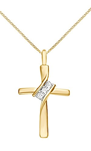 amond Cross Pendant Necklace 14k Yellow Gold Over Sterling Silver (1/10 Ct) (18kt Over Sterling Silver Cross)