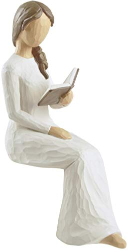 Book Lover Woman Reading on Ledge Hand Painted Sculpture Figurine - Gifts for Readers Women, Bookworms, Students and Teachers