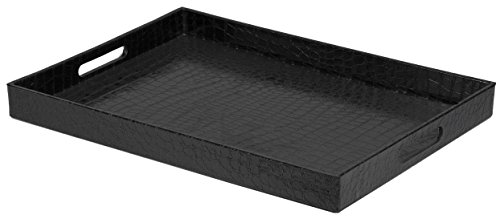 Home Basics Elegant Serving Tray with Handles (Leather Ottoman Tray)