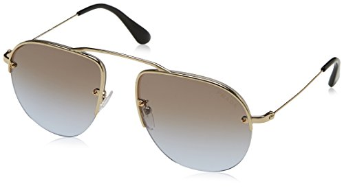 PRADA TEDDY PR58OS Aviator Pale Gold Lilac Mirrored Rimless Sunglasses - Sunglasses Prada Mirrored