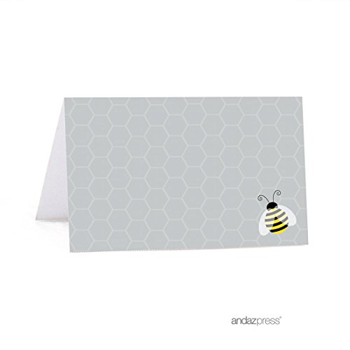 Andaz Press Mama to Bee Bumblebee Gender Neutral Baby Shower Collection, Table Tent Printable Place Cards, 20-Pack