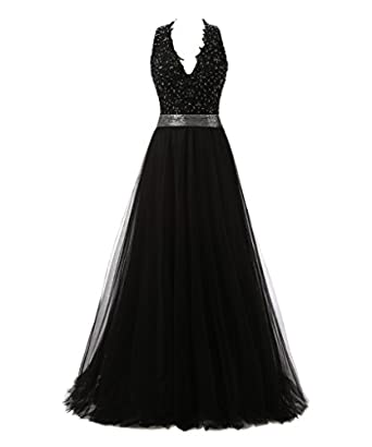 Beilite Womens V Neck Lace Tulle Prom Dresses Long Evening Gown Black