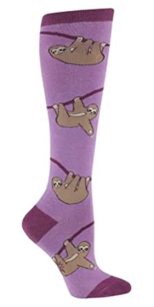 Sock It To Me SLOTH Womens Knee Socks Purple , One Size