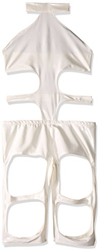 The Fifth Element Costume (Forplay Futuristic Element Strappy Stretch Lycra Bodysuit, White, X-Small/Small)