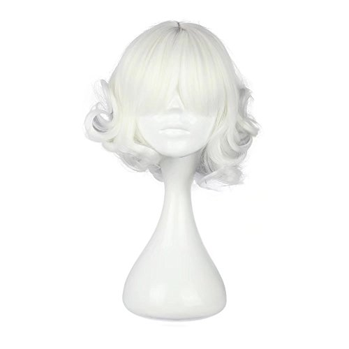 Short White Curly Wig (COSPLAZA Cosplay Wig Halloween Wavy Japanese Harajuku Lolita Theme Party Hair)