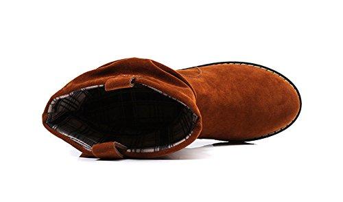 AdeeSu Womens Casual School-Uniform Microsuede Boots Camel YfAm3vS
