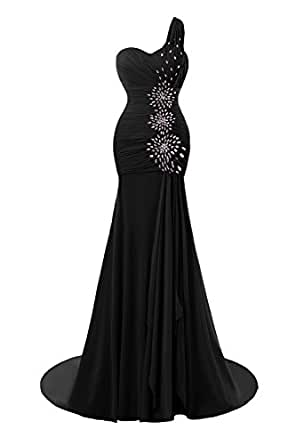 ModeC One Shoulder Mermaid Chiffon Side Split Beaded Evening Party Gowns Black US2
