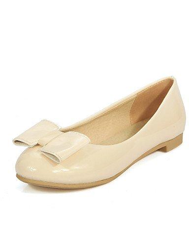 PDX talón rosa de uk4 us6 punta beige Flats sintética piel de mujer Casual cn36 blanco negro eu36 rojo zapatos Beige plano redonda EYwROYxr