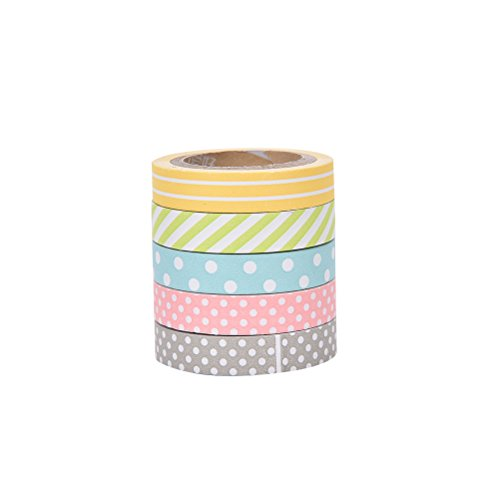 5 pcs Color Handmade Paper Tapes Decorative Washi Tape Colored Adhesiv Tapes for DIY Decoration