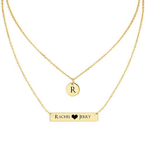 MeMoShe Personalized Bar Necklace, 18K Gold Plated Custom Name Engravable Necklace with Adjustable Chain Charm Gift for Bridesmaid -