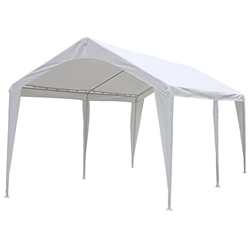 Abba Patio 10 x 20-Feet Outdoor Carport Canopy with 6 Steel Legs, White