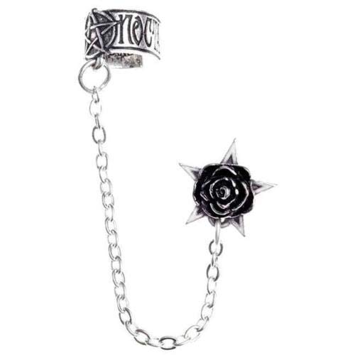 Rosa Nocta Earcuff Gothic Jewelry Alchemy Pewter Rose Star Earring