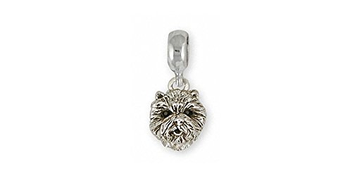 (Westie Charm Slide Jewelry Sterling Silver Handmade West Highland White Terrier Charm Slide D10H-PNS)