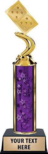Crown Awards Dominoes 10 Spots Trophies, Personalized Purple Dominoes 10 Spots Trophy with Custom Engraving Prime -