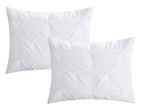 (Cotton Metrics Linen Present Exclusive 100% Egyptian Cotton 600TC 2pc Pillow Shams Pinch Pleated Pintuck Decorative, Soft and Hypoallergenic (Queen/Full Size (20 x 30 Inch), White))
