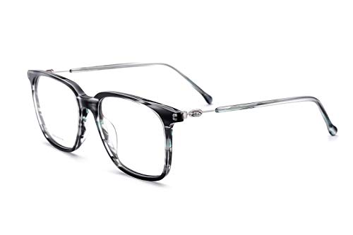 Price comparison product image Ater Denton Acetate Fashion Square Optical Glasses Frame Glasses (Black silver)