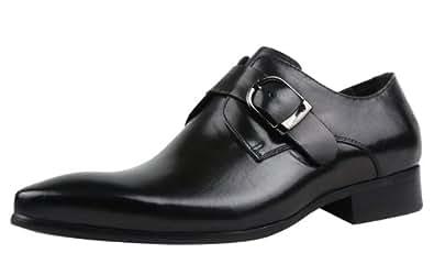 CGNP Men's Buckle Oxford Comfort Uniform Fashion Formal Leather Shoes Black 44EU