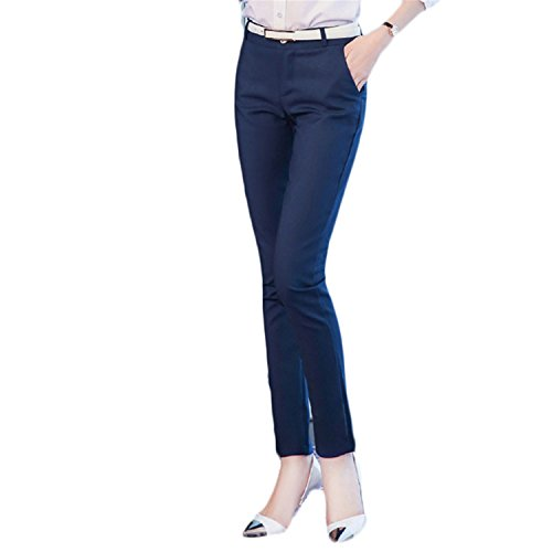 Price comparison product image JIANGTAOLANG Spring High Waist Pencil Pants Women Office OL Style Skinny Cargo Vintage Pants Formal Blue XL