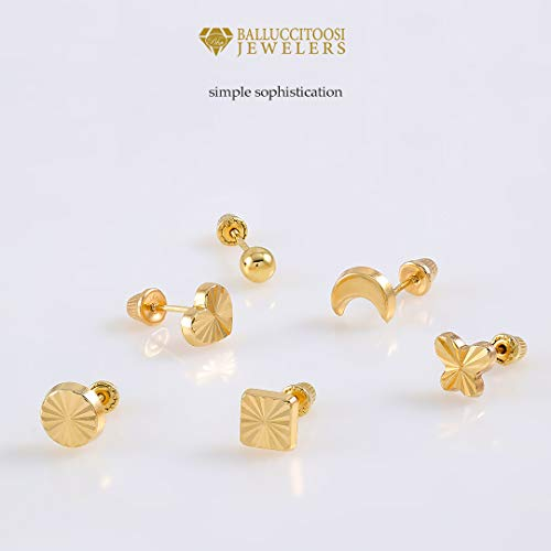 balluccitoosi Ball Stud Earrings 2mm to 8mm- 14k Yellow and White Gold for Women and Girls - Hypoallergenic for Sensitive Ears (3.0, Yellow-Gold) by balluccitoosi (Image #6)