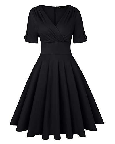 (Women's 50s 60s Vintage Half Sleeve Cross V-Neck Cocktail Swing Dress (Black,Size)
