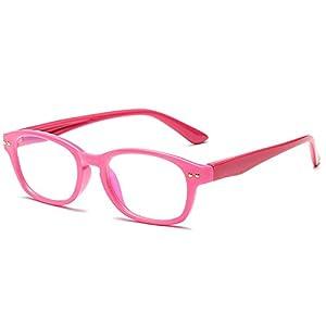 Fantia Kids eyeglass Frame Children Soft Non-Optical Frames Clear Lens (Pink)