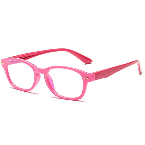 Fantia Kids Eyeglass Frame Children Soft Non-optical Frames Clear Lens (Pink)