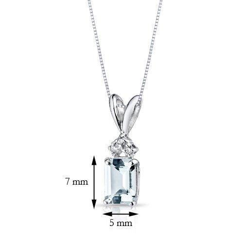 Or blanc 14carats émeraude 1,00carat Diamant aigue-marine Pendentif