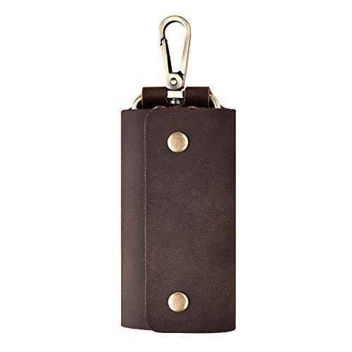 Mens Case Key Wallet - Key Case Wallet Holder, Genuine Leather Mens Keychian Ring, Pocket Car Fob Organizer Cover 6 Hooks Handmade