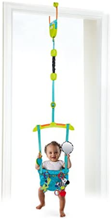 Bright Starts Bounce N Spring Deluxe Door Jumper Blue Soft Padded Seat Secure Ne