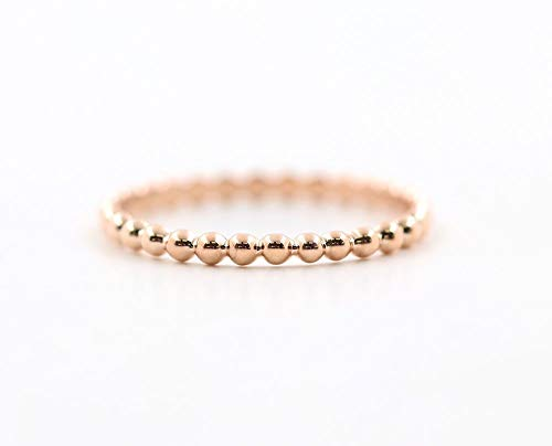 Platinum Ring Fine (1.7 MM 14K Rose, White, or Yellow Simple BEADED Solid Gold Wedding Band, Minimalist Beaded Gold Band, Delicate Stacking Gold Bead Ring)