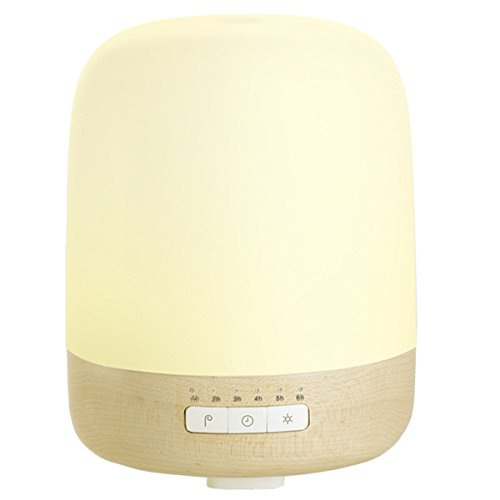 Emoi 2-in-1 200ml Cool Mist Humidifier Lamp, Real Maple Wood Base, Patent Single Room Essential Oil Aroma Diffuser, 7-Color LED Night Light, 1-6 Hour Timer Setting, for Home and Office.(H0028)