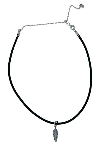 (Pandora Black Leather Choker Necklace with Feather Pendant 397197CBK38)