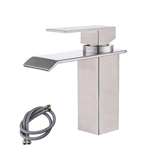 KES cUPC NSF Certified SUS304 Stainless Steel Waterfall Bathroom Vanity Sink Faucet with Extra Large Rectangular Spout Lead-Free, Brushed Finish, L3186A - Waterfall Traditional