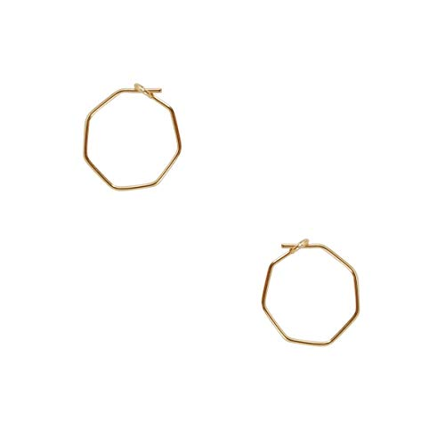 Humble Chic Octagon Hoop Earrings for Women - Hypoallergenic Lightweight Tiny Wire Small Huggie Threaders, 18K Yellow - 0.5 inch, Gold-Electroplated
