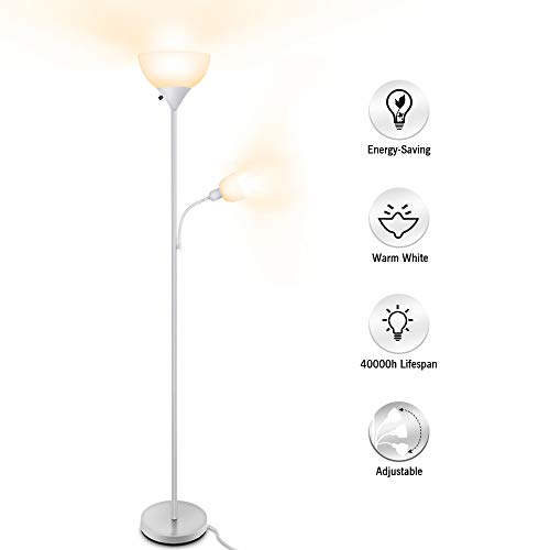 (Floor Lamp, LED Standing Uplight Floor Lamps, 9W+4W Energy Saving, with Adjustable Reading Light, 3000K Warm White, Torchiere Floor Lamp Lights for Reading, Working, Living Room, Bedroom & Office)