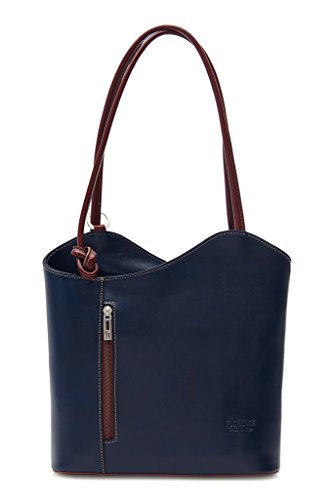 Shoulder Made Trim BHBS Z Navy Non Womens or In Leather Made Real Brown Piping Finish Hand Handbag Smooth Backpack Leather Italy wCI4BIxq