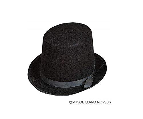 Deluxe Black Magician Butler Formal Costume Top Hat - Felt Black Deluxe Hat Top