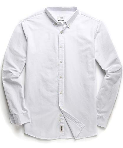 Men's Oxford Long Sleeve Button Down Casual Dress Shirt White Medium