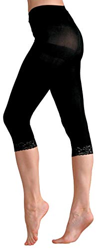 (Foot Traffic - Microfiber Capri with Lace, Black)