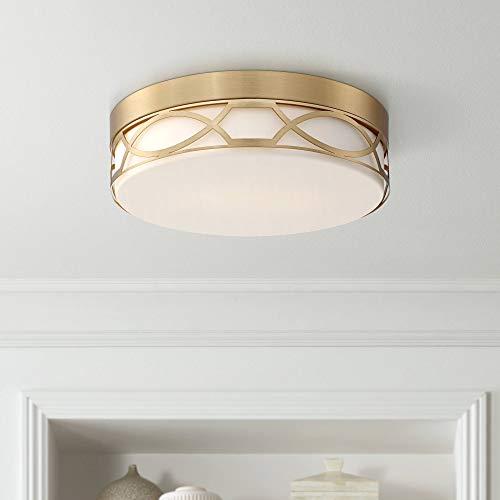 Giltner Modern Ceiling Light Flush Mount Fixture Satin Brass Drum 11 1/4