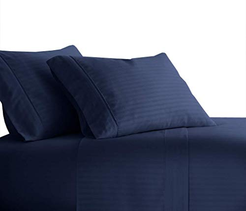 Royal Tradition Striped 300 Thread Count, 100 Percent Cotton 4PC Full Bed Sheets Set with Deep Pockets, Navy