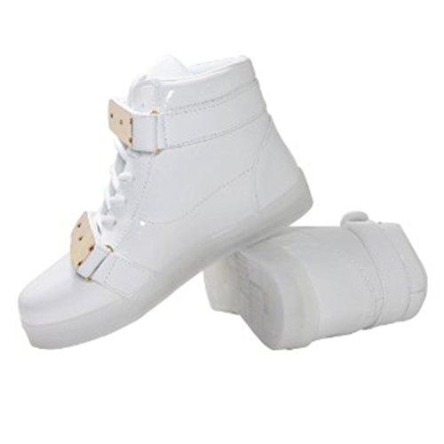 Presente uomo luce 7 camminat colori da lampeggianti JUNGLEST bianco carica Scarpe da piccolo USB bianco asciugamano donna moda LED unisex luminosi alla rqOfFrzWH