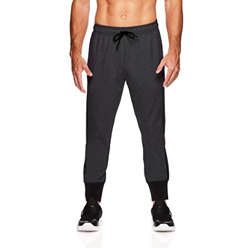 Gaiam Men's Foundation Fleece Yoga Pants - Performance French Terry Sweatpants - Direction Charcoal Heather, Large