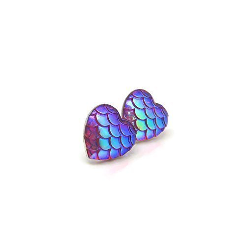 12mm Heart Shaped Mermaid Scale Earrings on Plastic Posts for