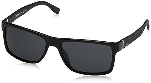 BOSS by Hugo Boss Men's B0919s Rectangular Sunglasses, MATTE BLACK, 57 mm