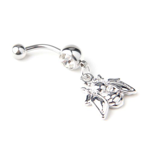 316L Surgical Steel 14G Cute Little Bee Dangle Navel Ring Belly Button Ring-2 Color for Choose (Clear)